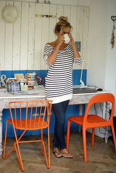long, striped sweater. Cute!