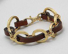 Brown Leather Gold Tone Oval Links Weekender Bracelet $39