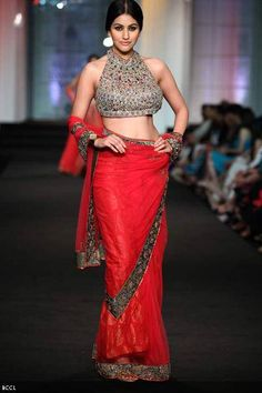 A model walks the ramp for designers Ashima-Leena on Day 3 of India Bridal Fashion Week, held in Mumbai
