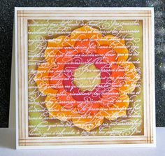 handmade card: Puzzle Piece Floral by Broom ... Floral Framelits to cut the flower ... En Francais background stamp for the script ... lovely ... Stampin' Up!