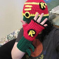 Superhero (Robin) Hat and Fingerless Glove Set ~ free pattern