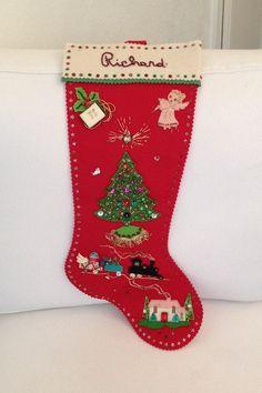 Vintage 1965 Felt Stocking  Christmas  Handmade by MayaVintage, $28.00