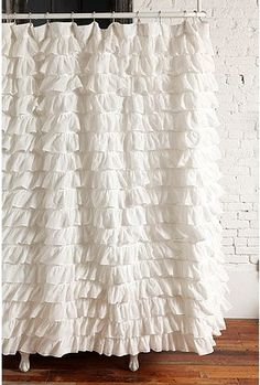 Love ruffled shower curtains!