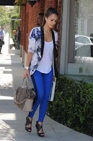 jessica alba blue floral blazer - Google Search