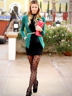 teal blazer.. skirt is WAAAYYY too short for work, but nice outfit. Not sure on the tights - a little hookerish looking but love polka. What to do.