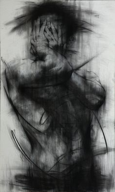 """Saatchi Online Artist: KwangHo Shin; Charcoal 2013 Drawing """"[90] untitled charcoal on canvas 162 x 96.5 cm 2013 [SOLD]"""""""