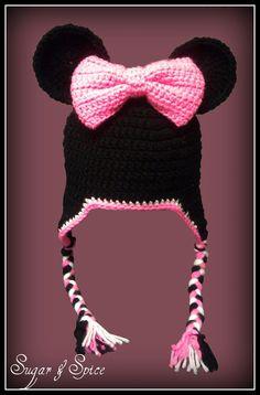 Minnie inspired crochet hat / beanie SOOOO by SugarAndSpiceTexas