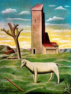 """Carlo Carrà (1831-1966), The Mill at St. Anna (1921)(Proprieta Gabbrielli Scalini, Milan, Italy). 91 x 80 cm.  """"Carlo Carrà was one of the most influential Italian painters of the first half of the 20th century.He is best known for his still lifes in the style of Metaphysical painting.He studied painting briefly at the Brera Academy in Milan, but he was largely self-taught. In 1909 he met the poet Filippo Marinetti and the artist Umberto Boccioni, who converted him to Futurism..."""""""