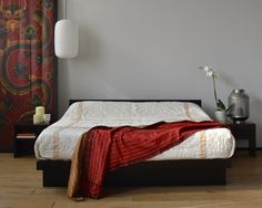 The Kyoto bed in solid pine with a wenge coloured stain - perfect for a Japanese style bedroom.
