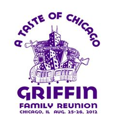 Original family reunion t-shirt design featuring elements of the Chicago skyline.  Add your info in the design studio and create a fantastic reunion t-shirt. Art by #Just Flo.    http://www.reuniontees.com/reunion_tees/Design/FRW_4013  #FamilyReunionTshirt, #ReunionTshirt, #SkylineTshirt