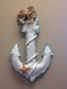 Anchor Burlap Door Hanger by ILoveItDesigns on Etsy, $28.00