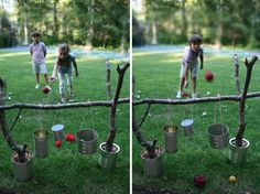 DIY Outdoor Kids Game: looks really inexpesive with things that you would otherwise throw away.