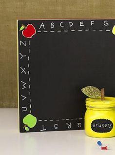 Teacher's Alphabet and Apples Chalkboard | Fun DIY Chalkboard Teacher Craft.