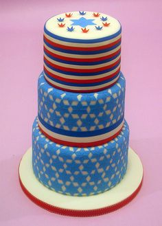 red white blue 4th of july cake