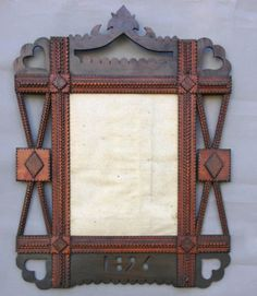 tramp art mirror frame