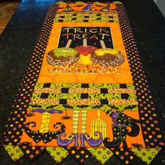 Halloween Quilted Table Runner - Witch Shoes, Hats, Candy Apples