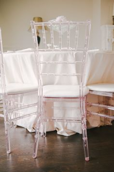 Pink acrylic chairs. Detailz Chair Couture. Photography: Heidi Lau Photography - www.heidilau.ca  Read More: http://www.stylemepretty.com/canada-weddings/2014/07/01/blush-blossoms-bridal-shower/