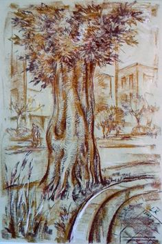 Old trees. Pastel on paper