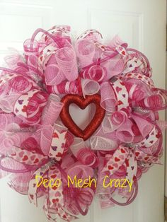 Valentine's Day Deco Mesh Wreath- www.facebook.com/decomeshcrazy
