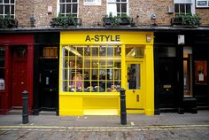Yellow storefront in Soho, London