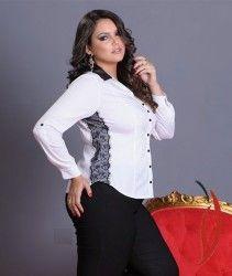 LOJA VIRTUAL PLUS SIZE www.tamanhosespeciais.com.br Camisa Tricoline strech Renda e Couro Plus Size