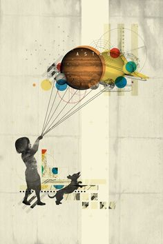 Represents the earth growth in technology or alternatively the origins of life. This piece is a collage. It shows a girl with a dog, pulling the planets along like they are balloons. The colour scheme is quite minimal, however there are some bright colours to make the planets stand out. The background is textured.