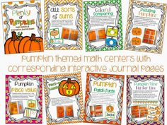 pumpkin math centers with journal activities to go with each one