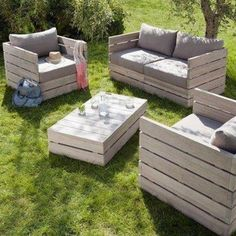 Outdoor furniture made out of pallets