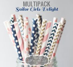 Pretty Paper Straws, SAILOR GIRLS DELIGHT Multipack, Pink, Navy, Gold, Chevron, Dots, Nautical,Vintage, 25 Straws, in 5 Designs