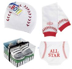Baby Baseball Gift Set. Perfect gift for a sports themed baby shower or baseball themed baby shower.  www.SpecialBabyShowerGifts.com