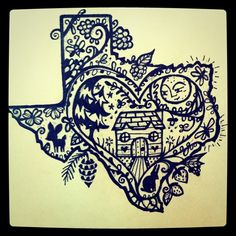 texas<3 draw, tattoo ideas, heart, frames, california, a tattoo, place, texas homes, design