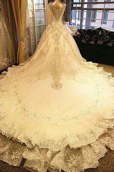 Long train wedding dress.
