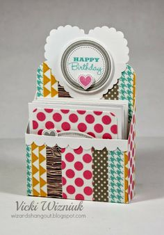 Wizard's Hangout: Washi Tape Fun! A Gift Set of Four 3x3 Cards & Matching Holder #D1560HolidayTags #WashiTape
