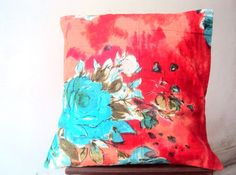 16x16 Orange Floral Cotton Cushion Cover by Sitarafabricandtrims, $9.99