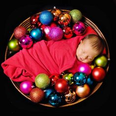 Baby first Christmas picture.