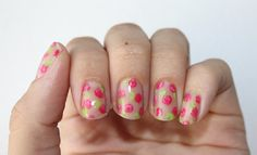 floral bare nail manicure