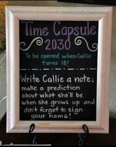Baby Shower Idea: Time Capsule for Baby to read when he/she turns 18! #babyshower