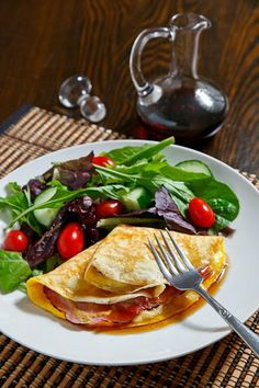 Ham, Egg and Gruyere Crepes with Maple Syrup