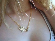 Gold Plated Necklace With Holey Hole Fairy Stone Tree Leaves pendant Zen Healing stone tree, zen heal, holey stone, fairi stone, plate necklac, tree leav, necklaces, leav pendant, gold plate