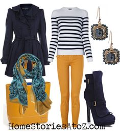 Blue jacket, blue stripe sweater, blue short boots, yellow skinny pants, blue drop earrings, yellow tote with accent scarf - fall fashion