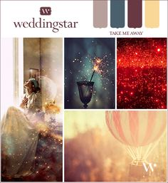 """Drift away in a dreamy wedding design with luxe purples, deepest blues and soothing daybreak yellow in """"Take Me Away."""" #dreamwedding"""