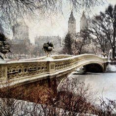 Central Park, New York City  Snowy Bow Bridge by Jose Vazquez