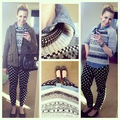 Polka dot pants and a glam fair isle sweater