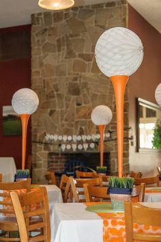 {Golf-themed party} - Love these golf tee centerpieces! #kidsparty #