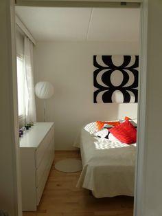 Marimekko wall art, Finnish bedroom. #marimekko #finland #home #interior
