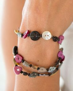 Heart Button Bead Bracelet