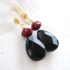 Garnet  and Black Gamecock Earrings by laurenamosdesigns, $20.00