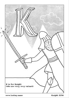 Terrific free A-Z coloring book pages from a real children's book illustrator.
