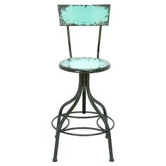 Antiqued teal bar stool