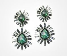 Green Tourmaline Quartz pairs with crystals for an Art Deco look in theseBel Air Starburst Earringsby Alexis Bittar.